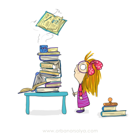 little girl looking at a stack of books, one of which starts floating in the air