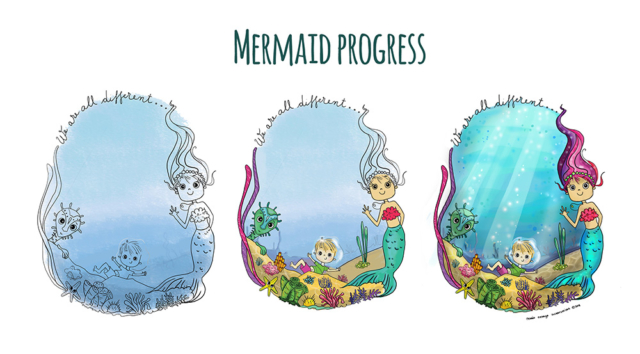 3 stage drawing process of mermaid, little boy and sea creature