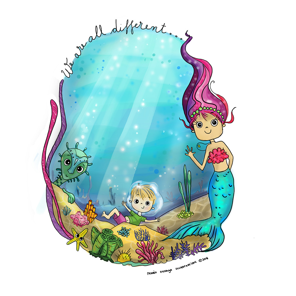 Underwater image with a mermaid, a little boy and a sea creature